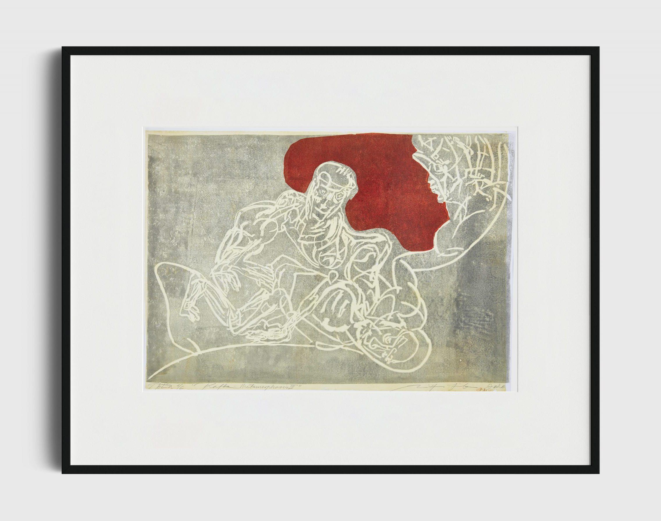 """Kafka, Metamorphosis III"" 1/6, linoprint, 50x70 cm, 2020"