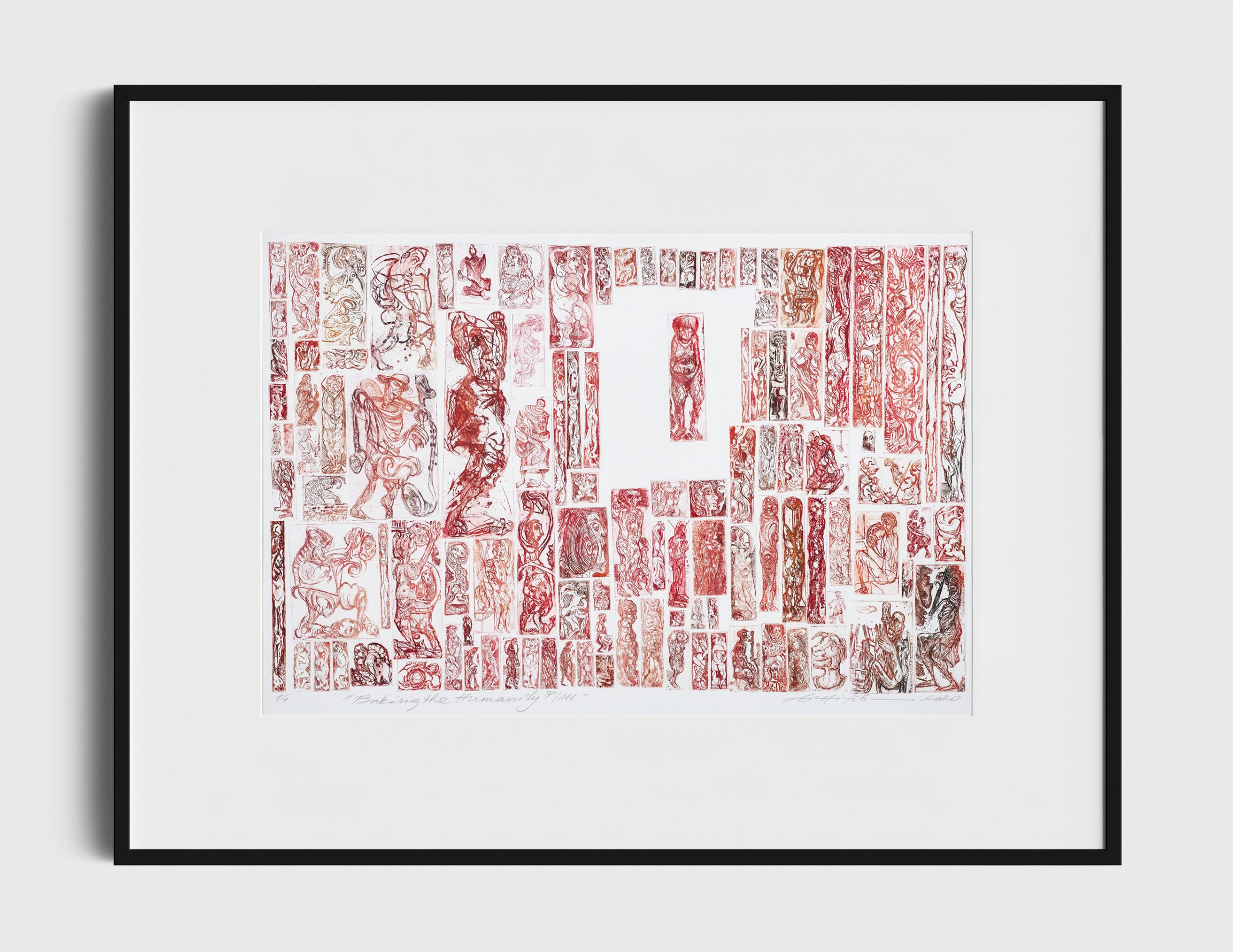 """""""P/ 111, Baking the Humanity"""" 1/1, multiplateetching, 40x60 cm, 2000"""