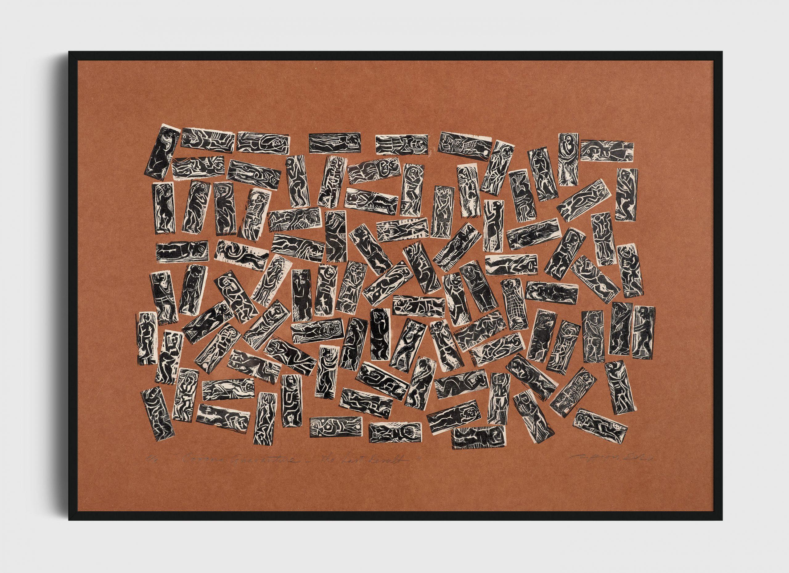 """P/94, Corona Quarantine, Last Result"", 1/1, multiplate woodcut, 2020"